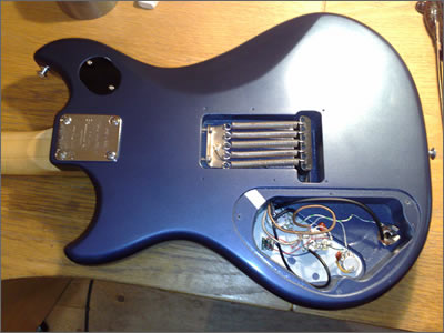 The re-built guitar from the rear